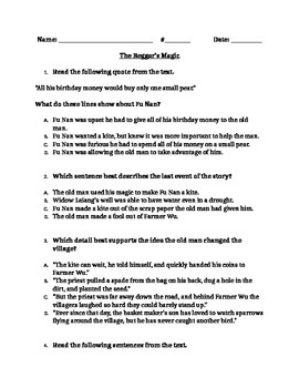 "RL 4.2 Theme: ""The Beggar's Magic"" 4th Grade Common Core Q"