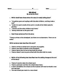 """RL 4.3 Setting: """"Rain School"""" CCLS Questions"""