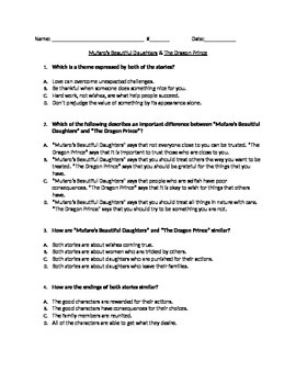 RL 4.9 Comparing Themes: CCLS Multiple Choice Questions an