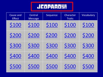 Literature FSA 3rd Grade Test Prep Jeopardy-Style Game