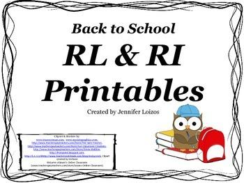 RL and RI Back to School Printables