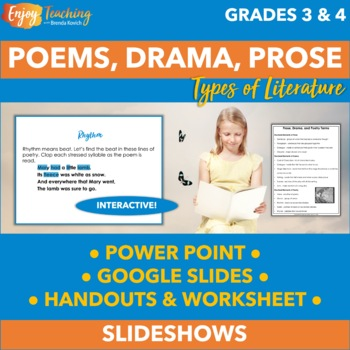 Prose, Drama, and Poetry PowerPoint - Third and Fourth Grade