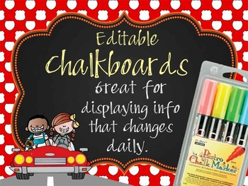 ROAD TRIP - Classroom Decor:editable chalkboard  POSTERS /