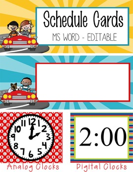 ROAD TRIP - Schedule Cards, EDITABLE