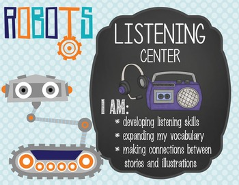 ROBOTS - Classroom Decor: Center Signs, student cards