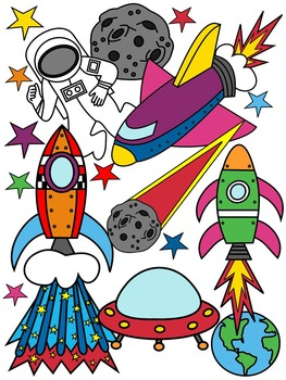 ROCKET CLIP ART * COLOR AND BLACK AND WHITE