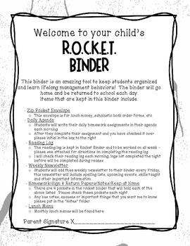 R.O.C.K.E.T. Organizational Binder
