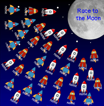 ROCKET race TO THE MOON space theme smartboard ATTENDANCE file