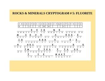 ROCKS & MINERALS CRYPTOGRAM #5: FLUORITE