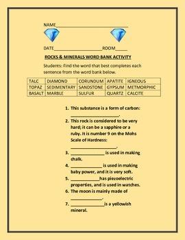 ROCKS & MINERALS WORD BANK ACTIVITY/ QUIZ