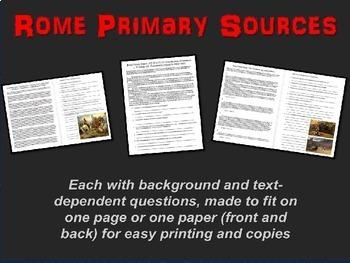 ROME 3 Primary Source Bundle: Julius Caesar, Agustus, Colo