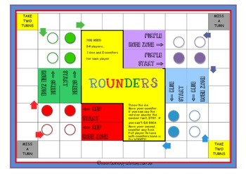BLANK BOARD GAME - Rounders - for Sight Words, Number Fact