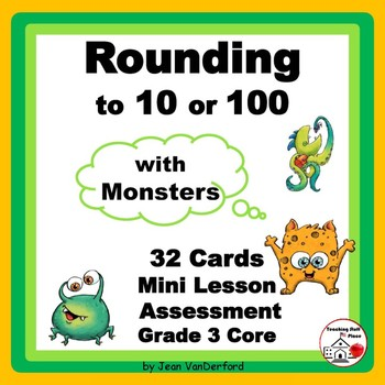 ROUNDING | NUMBERS to 100 | REVIEW Task Cards | MONSTERS |