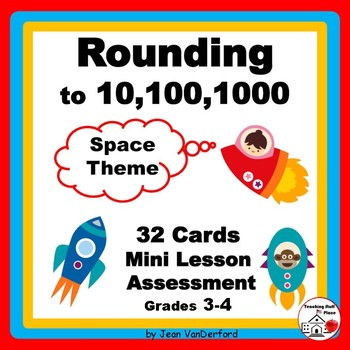 ROUNDING NUMBERS to 1000 | REVIEW | Task Cards | SPACE THE