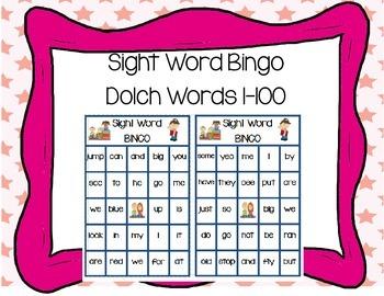 Sight Word Bingo Pre-Primer, Primer, and more