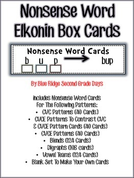 RTI Nonsense Word Elkonin Cards Bundle-CVC,CVCE, Blends, D