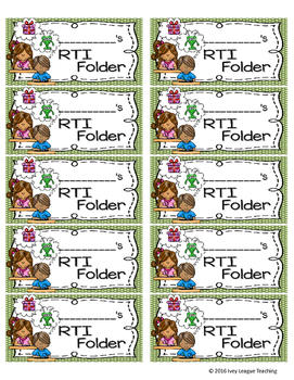 RTI (Response To Intervention) Folder Labels