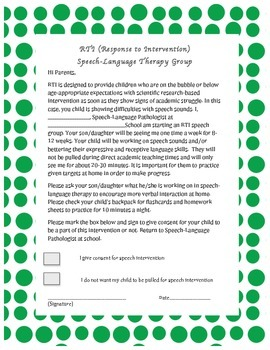 RTI letter for Speech-Language Therapy