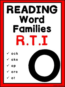 Phonics Word Families reading Intervention: 'O'  Great for