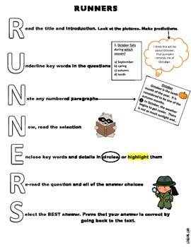 RUNNERS test taking strategy-coloring letters