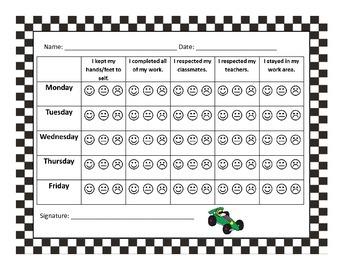 Race Car Behavior Chart Bundle DEMO