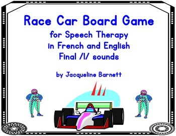 Race Car Board Game in French and English- final /l/ sound