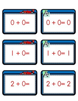 Race Car Math Flash Cards