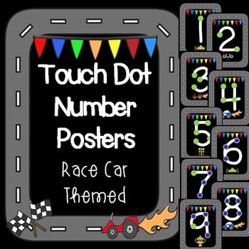 Race Car Themed Touch Dot Number Posters