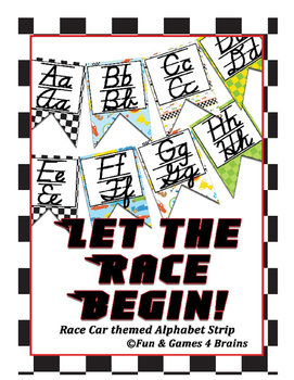 Race Car themed D'Nealian manuscript and cursive Alphabet banner