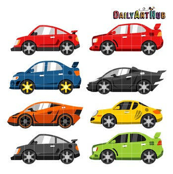 Race Cars Clip Art - Great for Art Class Projects!