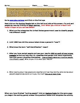 Race: The Power of an Illusion Webquest