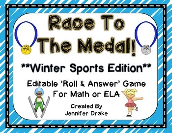 Race To The Medal!  Winter Sports 'Roll & Read' EDITABLE G