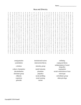 Race and Ethnicity Vocabulary Word Search for Sociology