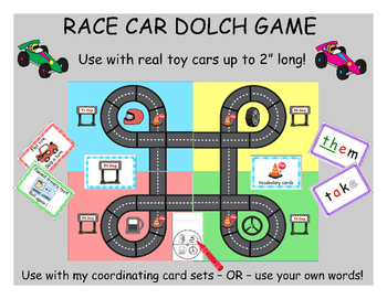 Race car (vocabulary) Game - game board only