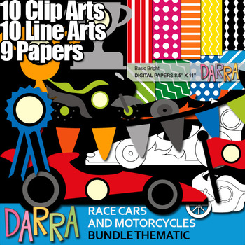 Race cars and motorcycles clip art bundle (transportation
