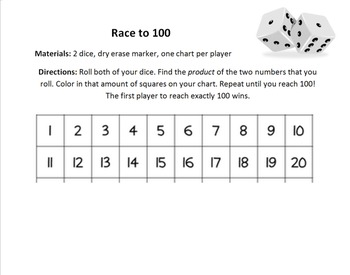 Race to 100 Math Game