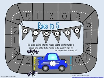 Race to 5-Math Addition Fluency Fun
