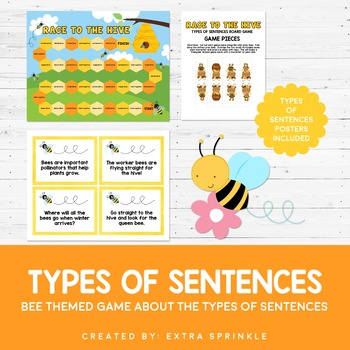Race to the Hive Types of Sentences Board Game