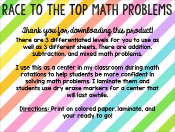 Race to the top Math problems