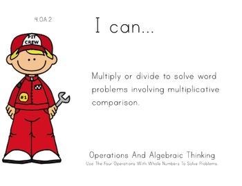 Racecar Kids Theme 4th grade math Common Core Posters four