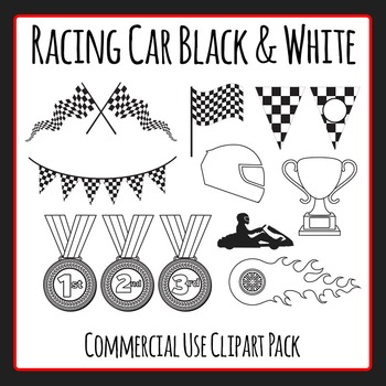 Racing Car Black and White Line Art / Clip Art for Commercial Use