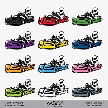 Racing Go Kart Clip Art - Racing Clip Art - Car Clip Art -