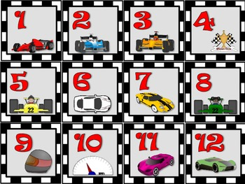 Racing cars calendar set
