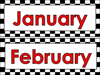 Racing theme Calendar Months and Days