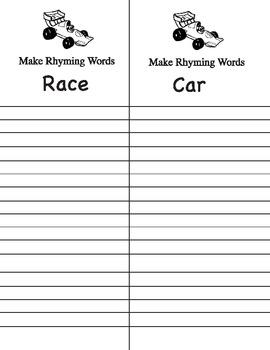 Racing unit rhyming words
