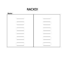 Racko - Response Sheet - Editable