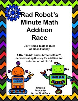 Rad Robot's Minute Math Addition Race-Daily Timed Tests to