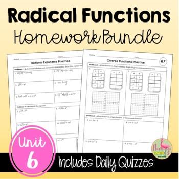 Radical Functions Homework Bundle
