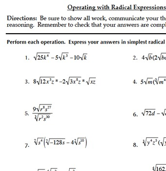 Radical Functions & Rational Exponents Bundle (Common Core