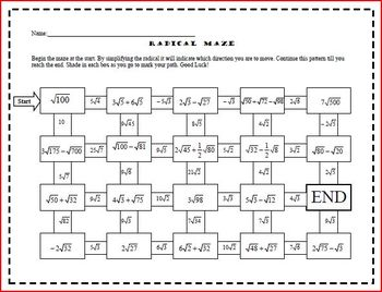 Radical Maze (Adding & Subtracting Irrational Numbers)